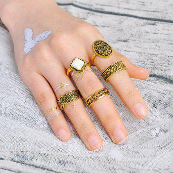 Vintage Geometric Engraved Flower Ring Set