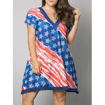 Tassel American Flag Print Plus Size Dress