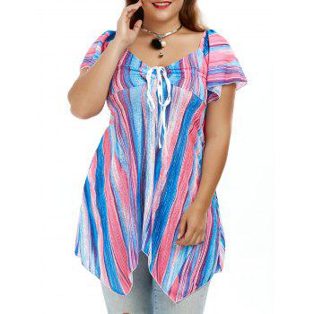 Plus Size Colorful Smock Tunic Asymmetrical Top