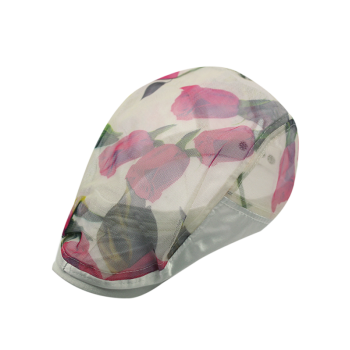 Rose Pattern Mesh Yarn Breathable Beret
