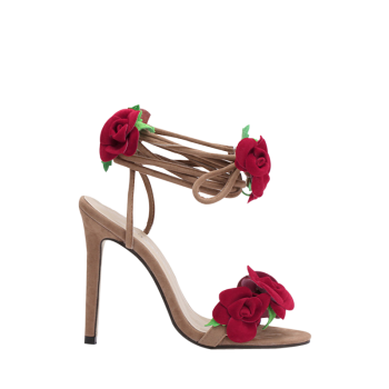 Sweet Rose and Lace-Up Design Sandals For Women