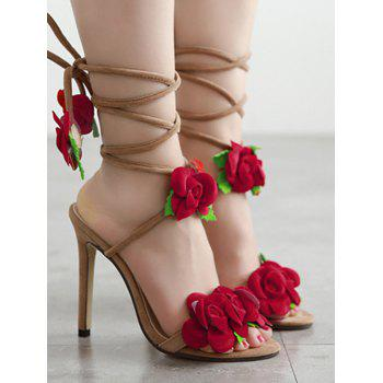 Sweet Rose and Lace-Up Design Sandals For Women - APRICOT 38
