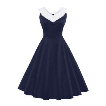 V Neck Vintage Swing Dress