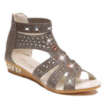 Rhinestones Rivets Zipper Sandals