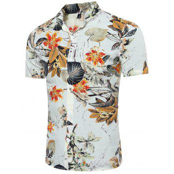 Breathable Leave and Florals 3D Print Shirt