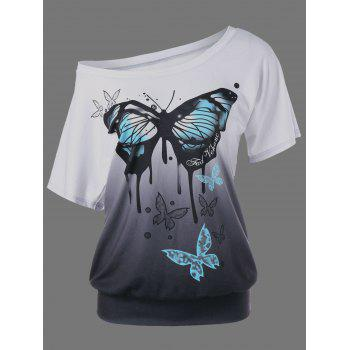 Butterfly Print Ombre T-Shirt