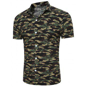 Short Sleeve Camouflage Print Breathable Shirt