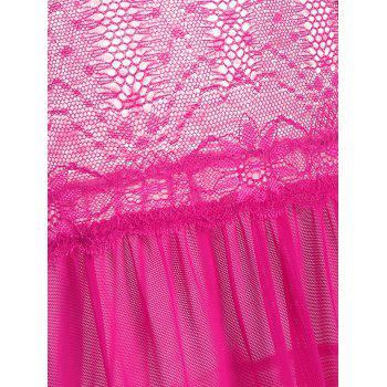 Lace Insert See Thru Ruffles Cami Babydoll - ONE SIZE ONE SIZE