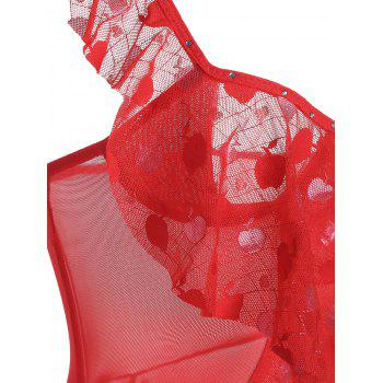 Mesh See Thru Flounce Slip Babydoll - RED ONE SIZE