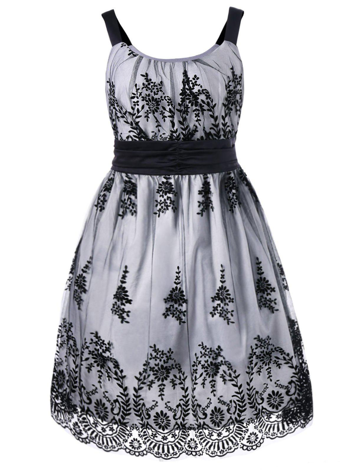 Plus Size High Waist Ball Gown Dress - WHITE/BLACK XL