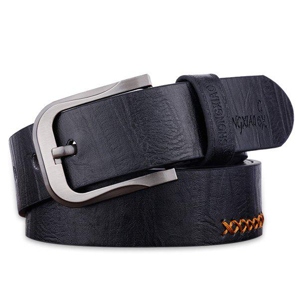Cowboy Style Sewing Thread Wide Belt - BLACK