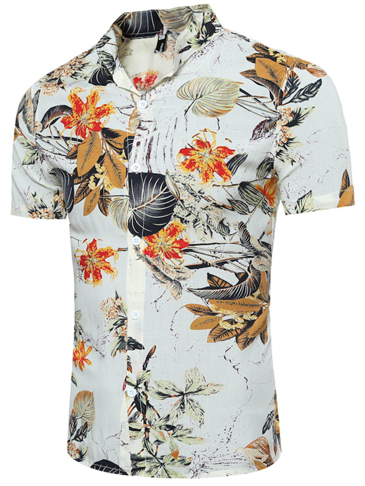 Breathable Leave and Florals 3D Print Shirt - COLORMIX 2XL