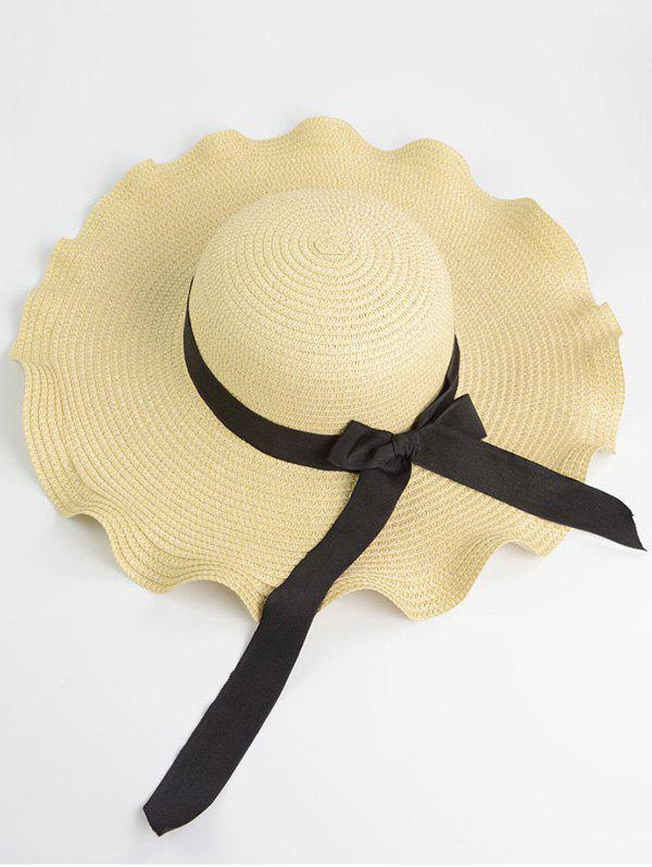 Wave Design Bow Knot Straw Hat lemon pattern straw hat with knot