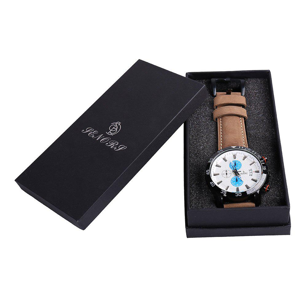 Faux Leather Strap Number Date Quartz Watch - Bleu