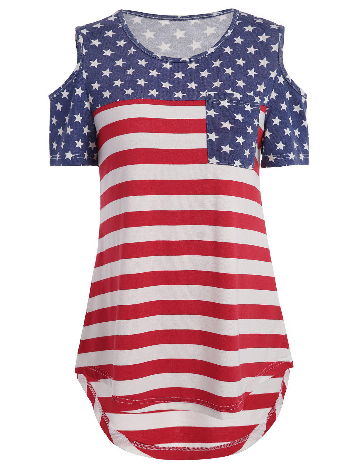 Cold Shoulder American Flag Print Pocket Tee pocket bushman cold steel