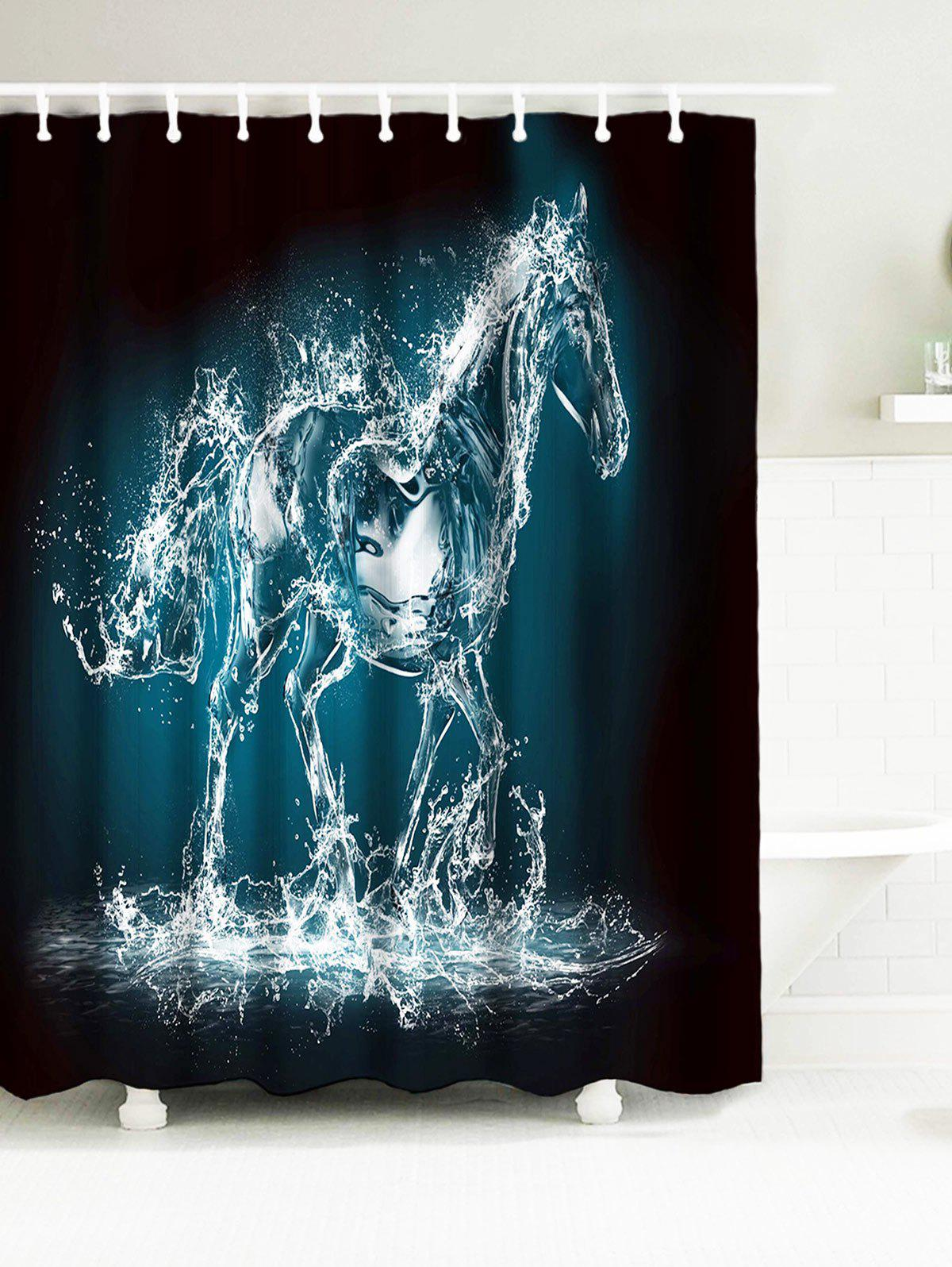 2018 Abstract Horse Waterproof Fabric Bath Curtain BLACK GREY W INCH ...