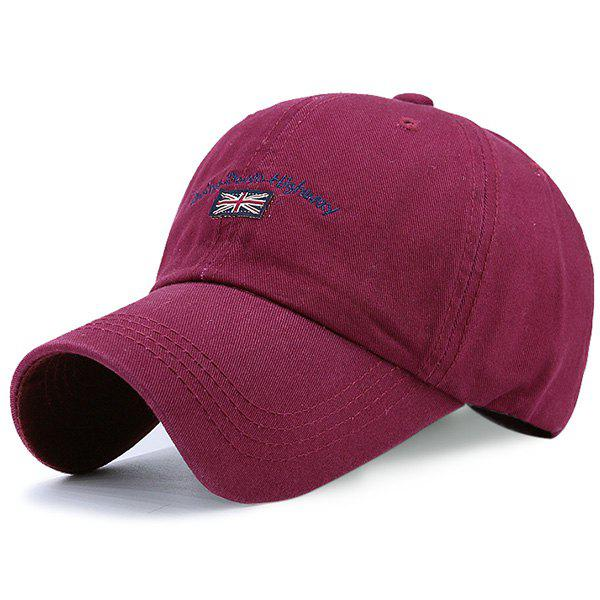 Flag Letter Embroidered Baseball Hat - WINE RED