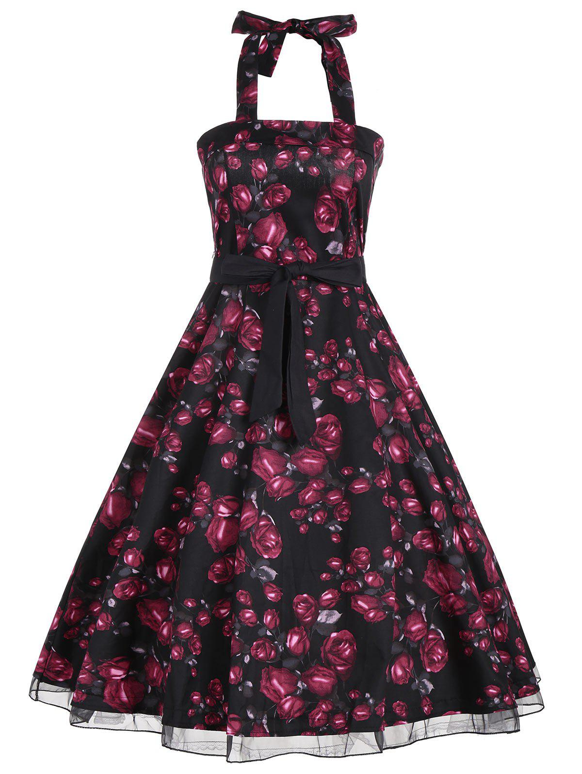 Retro Style Halter Floral Print Belted Dress цена 2017