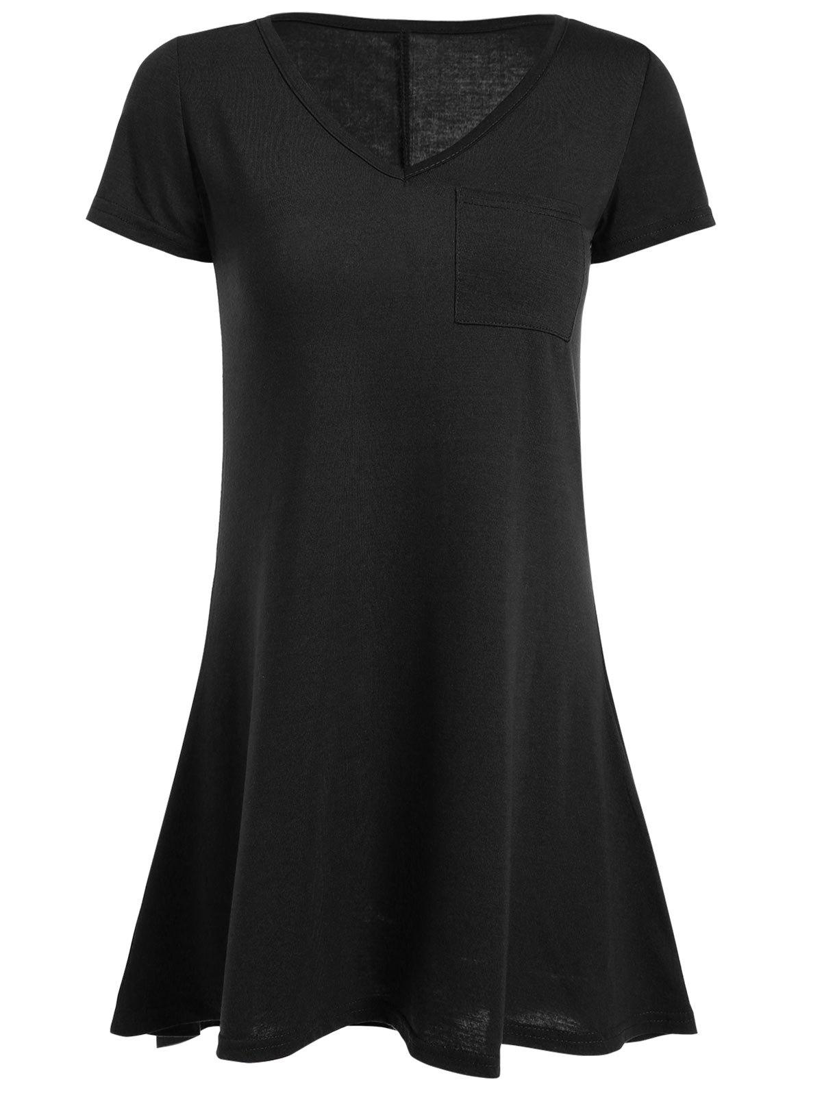 Short Sleeve High Low Mini Dress - BLACK XL