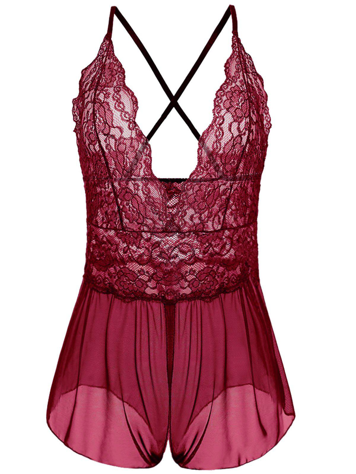 Plunging Neck See Through Plus Size Babydoll - WINE RED 3XL