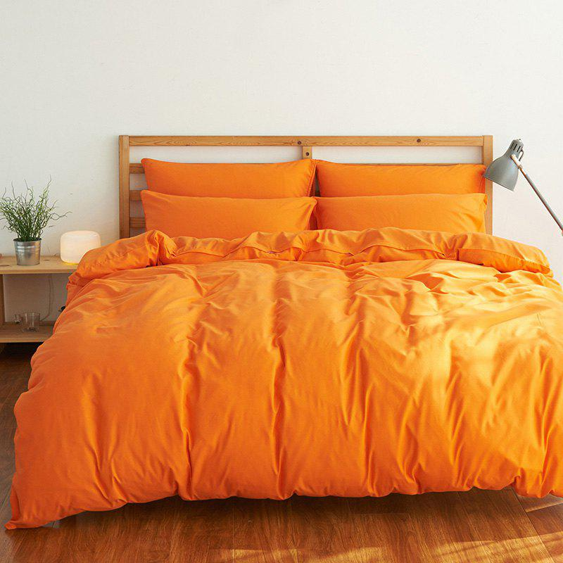 4Pcs Suit Polyester Fiber Bedding Sets - ORANGE YELLOW QUEEN