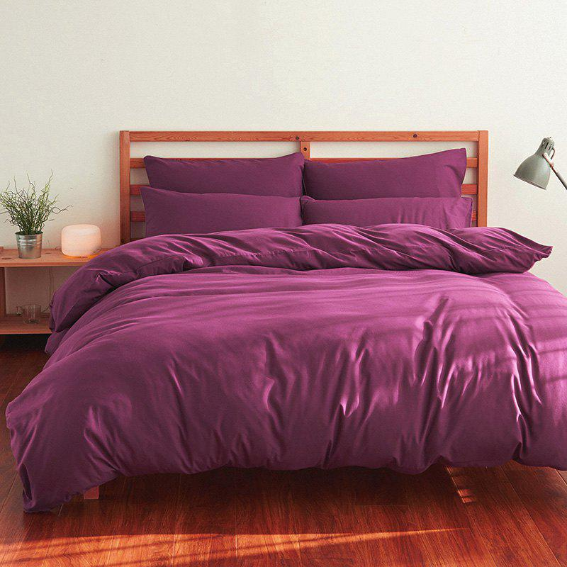4Pcs Suit Polyester Fiber Bedding Sets - PURPLISH RED QUEEN