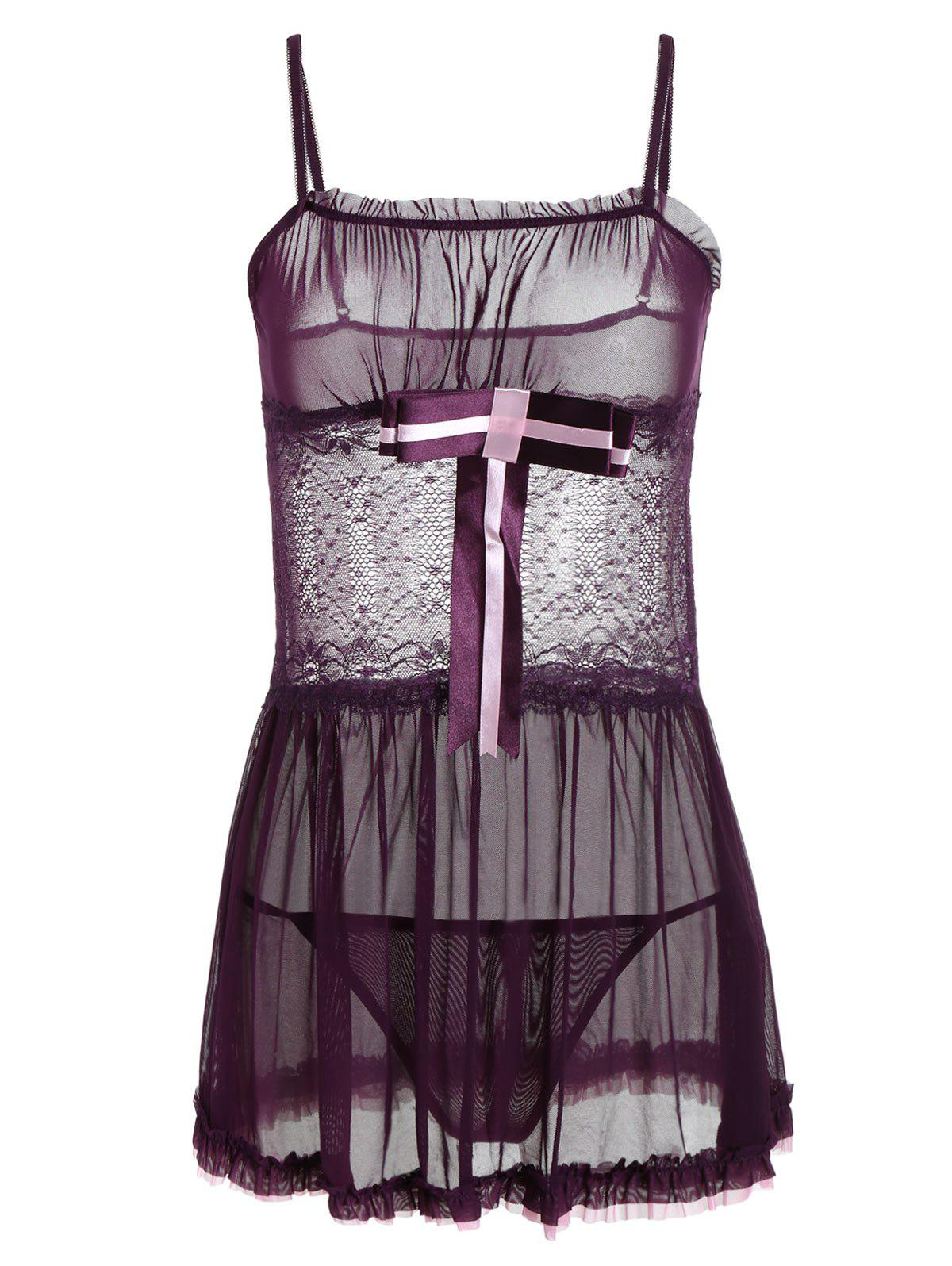 Lace Insert See Thru Ruffles Cami Babydoll - DEEP PURPLE ONE SIZE