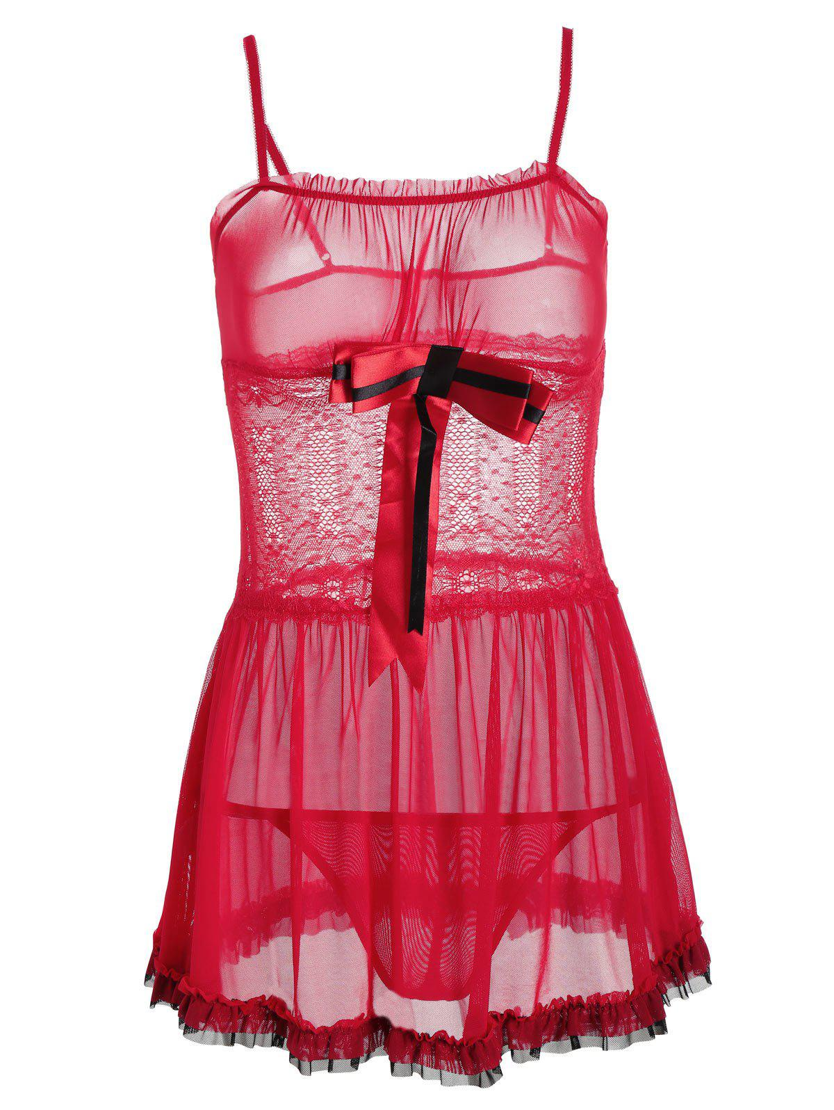 Lace Insert See Thru Ruffles Cami Babydoll - RED ONE SIZE