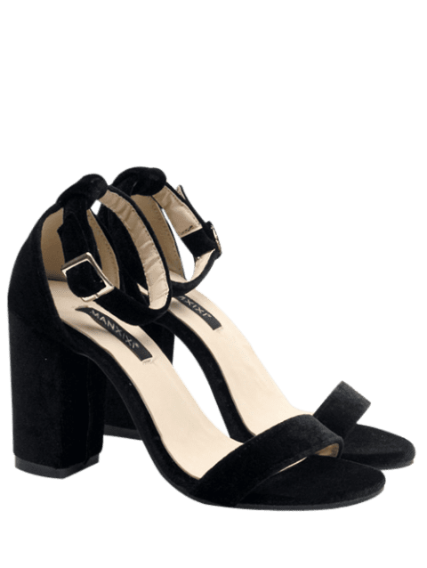 Ankle Strap Velvet Sandals - BLACK 37