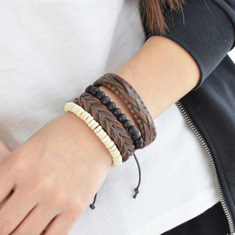 Layered Braid Beaded Faux Leather Friendship Bracelets - multicolorCOLOR