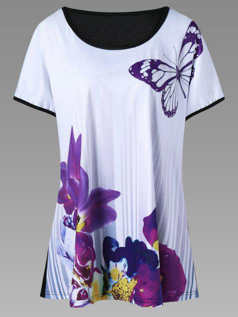 1cede89d10e 41% OFF  2019 Plus Size Butterfly and Floral T-Shirt In PURPLE 2XL ...