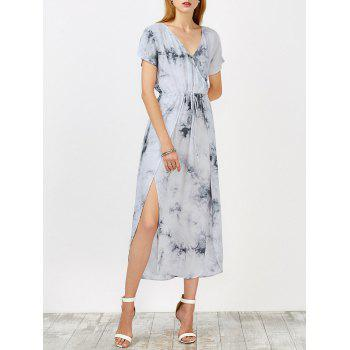 Tie Dye Drawstring Waist High Slit Dress
