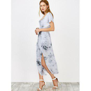 Tie Dye Drawstring Waist High Slit Dress - GREY WHITE GREY WHITE
