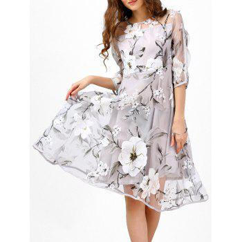 See-Thru Floral Print Organza Midi Dress