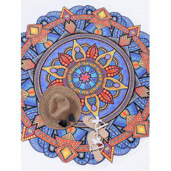 Round Mandala Print Beach Throw - YELLOW ORANGE ONE SIZE