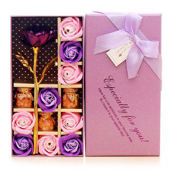 Artificial Plated Rose Flower with Soap Flowers Gift Box