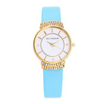 Faux Leather Rhinestone Quartz Watch