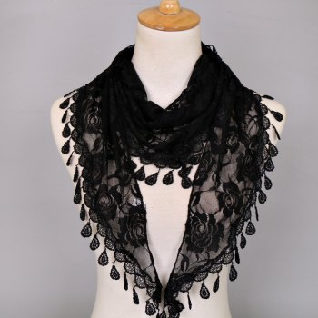 Waterdrop Tassel Triangle Lace Rose Scarf