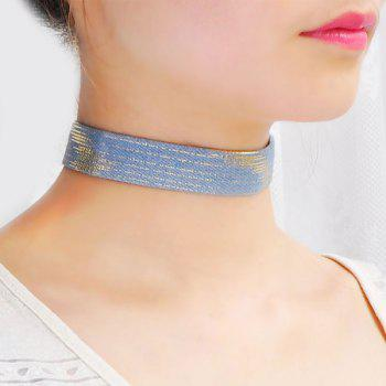 Pinstriped Cannetille Jeans Choker Necklace