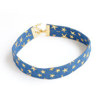 Novelty Denim Pentagram Embellished Choker