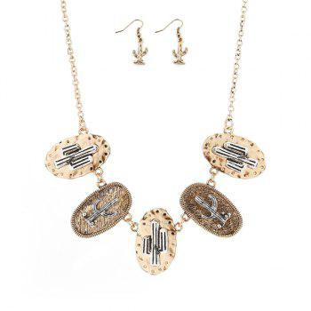 Cactus Emboss Metal Plating Necklace and Earrings