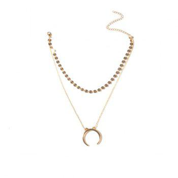 Crescent Double Link Chain Rounds Necklace