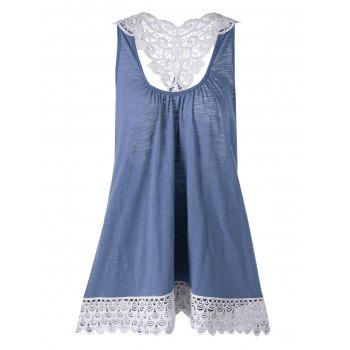 Plus Size Cutwork Lace Trim Tank Top