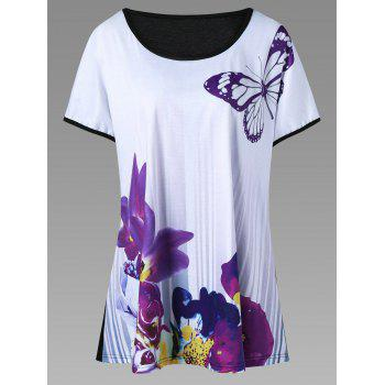Plus Size Butterfly and Floral T-Shirt