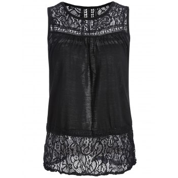 Sleeveless Lace Trim Open Back Blouse