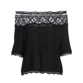 Off The Shoulder Chiffon Lace Trim Blouse