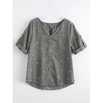 Split Neck Star Print Blouse