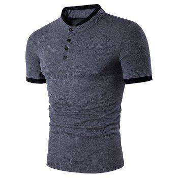 Panel Design Short Sleeve Henley Shirt