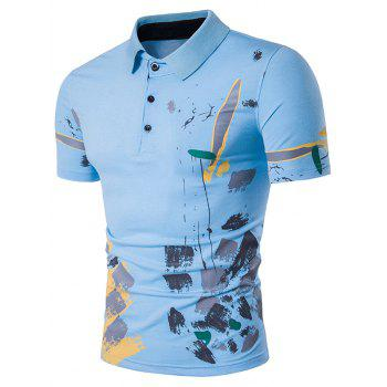 Short Sleeve Color Block Splatter Paint Print Polo T-Shirt