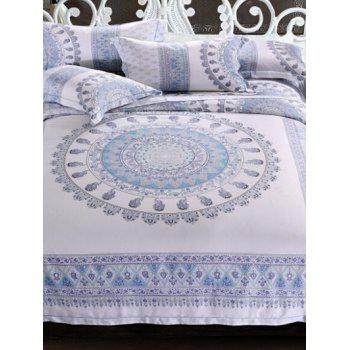 Comfortable Super Soft Jacquard Printed Tencel 4Pcs Bedding Set - BLUE BLUE